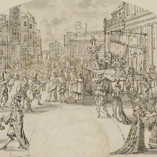 부채꼴 형태의 광장의 축제