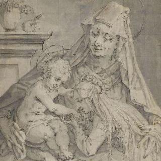 성모, 아기 예수와 성녀