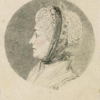 견본 앨범 : 원형 저부조 속의 모자를 든 여인의 좌측 측면 초상