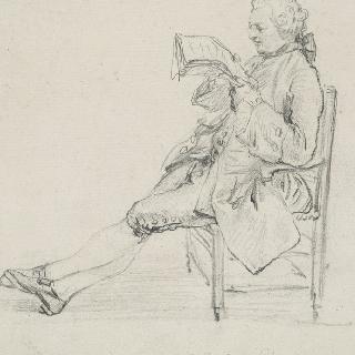 견본 앨범 : 왼쪽으로 몸을 돌린 책 읽는 앉아있는 남자의 초상