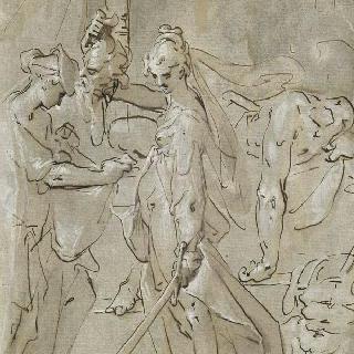 하녀가 들고있는 홀로페르네스의 머리를 가방 속에 넣는 유디트 이미지