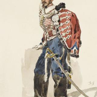1857년경의 경기병들, 정복을 입은 제 4연대의 기병하사