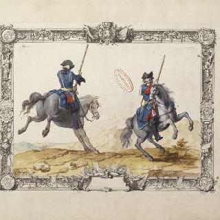 랑그독 연대 용기병들 : 뒷발로 일어선 말 위의 용기병