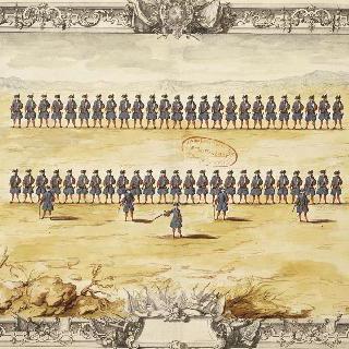 루아관 정문의 수비병 : 열병한 부대