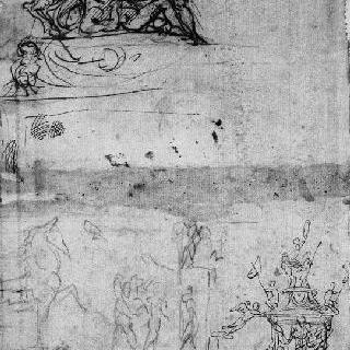 크로키 4점 : 기사, 트로이의 목마, 기념물, 전사