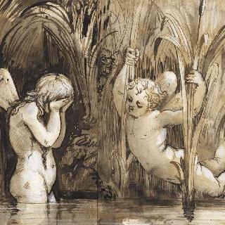 물가의 두 아기천사 중 양손으로 얼굴을 감싸고 있는 한 아기천사