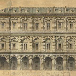 피렌체의 피티 왕궁의 정면 입면도