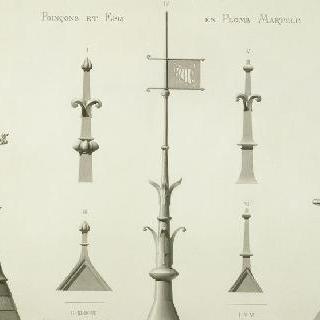 각인의 7개의 모형과 망치로 단련된 납으로 된 쇠갈고리