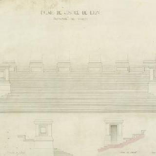 리옹 재판소, 낮은 층계, 중앙 입면도, 두 개의 측면 입면도
