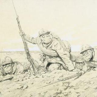 방독면을 쓴 병사들의 공격