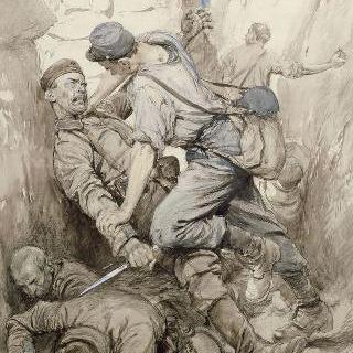 참호 안의 전투 장면