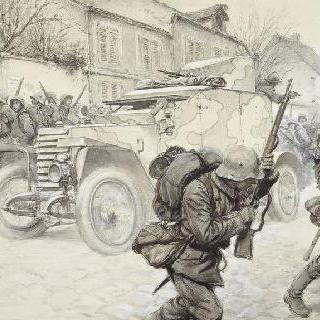 매복. 독일군의 기관총 장갑차 공격