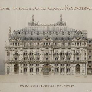 파리 희극 오페라의 재건축 계획안 : 파바르 거리쪽의 측면 정면