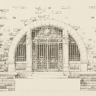 철로 된 아치형의 기념문의 계획안