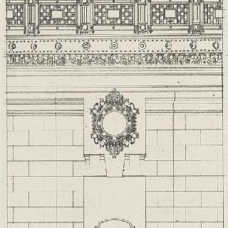 정면 장식의 계획안 : 철책과 쇠로 된 난간