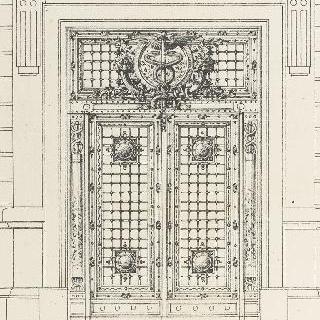 헤르메스의 지팡이가 장식된 철문