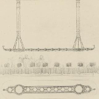 긴 테이블 위의 매달린 장식의 모형