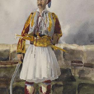 소매가 붉은 흰색 윗옷을 입은 그리스인 이미지