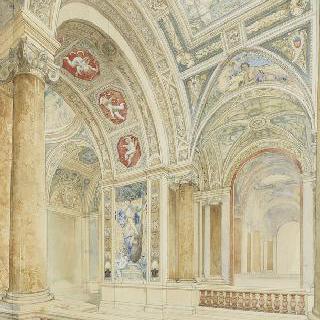 파리 신축 시청 계획안 : 중앙 계단 장식