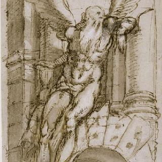 고대 폐허 위의 앉아있는 시간의 신