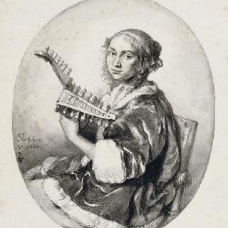 만돌린을 연주하는 젊은 여인