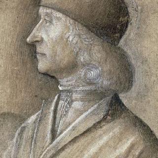 둥근 작은 모자를 쓴 왼쪽을 향한 남자 흉상 옆 모스 초상 (지오바니 벨리니)