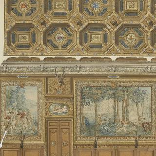 샹티이 성의 연회실, 또는 세르프 갤러리의 계획안