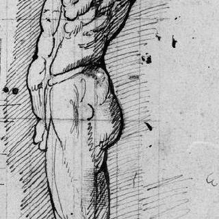 왼쪽 방향으로 서 있는 남자의 측면 해부 습작