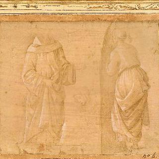 주름진 옷 습작 : 사제, 여인, 여인의 두상