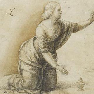 왼쪽 팔을 들고 무릎꿇은 젊은 여인 : 막달라 마리아
