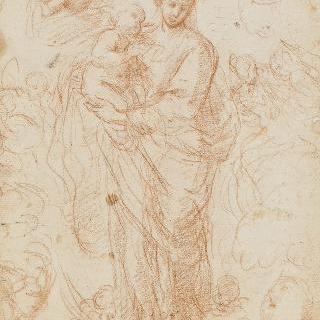 성모와 아기 예수를 받치고 있는 천사들