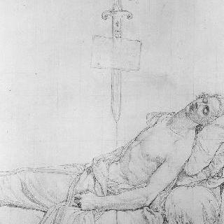 자신의 침상에서 죽음을 맞고 있는 르 펠르티에 드 생 파르조