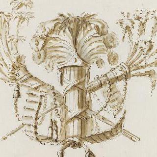 견본 앨범 : 두 개의 전동 모양 장식무늬와 깃털 다발로 연결된 전리품