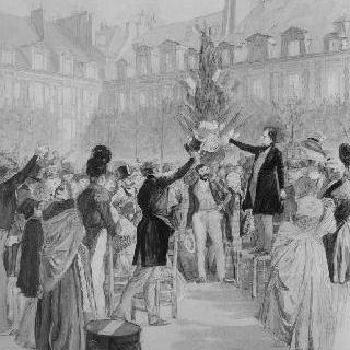 1848년 로열 광장에 자유의 나무를 심는 빅토르 위고