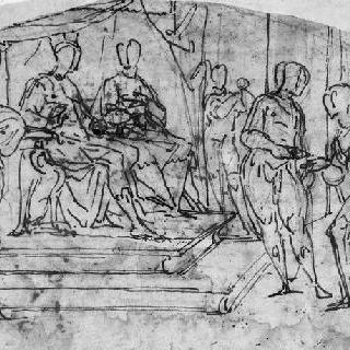 왕과 왕비 앞의 크리스토프 콜롬보