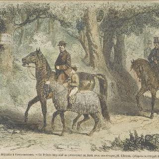 자신의 시종 바손과 함께 숲 속을 산책하는 황태자