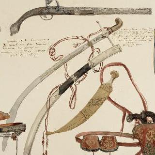 유수프 사령관의 장비 : 소총, 검, 단검, 권총, 장화 등등