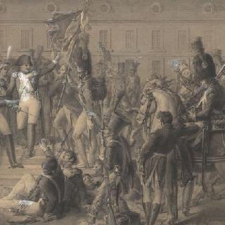 자신의 군대에 작별 인사를 하는 나폴레옹. 1814년 4월 20일, 퐁텐블로