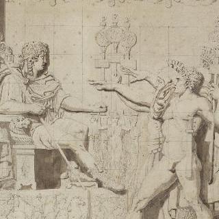 앉아 있는 황제에게 인사를 하는 두 로마인
