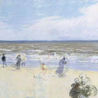 바닷가의 산책하는 사람들