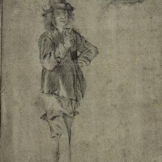 잔을 든 모자를 쓴 청년 ; 여인의 두상