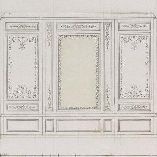 유리틀과 두 개의 아라베스크 장식의 내장재 패널 계획안