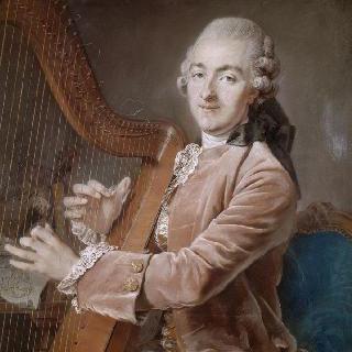 하프를 연주하는 장남 막시밀리앙 가르델의 초상