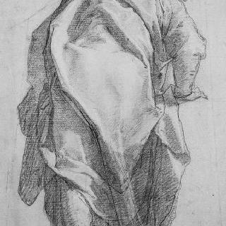 주름진 옷을 입고 몸을 앞으로 숙인 노인의 뒷모습 습작 : 사도