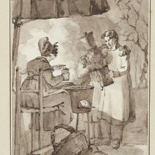 앉아 있는 여인 앞에 서 있는 두 병사