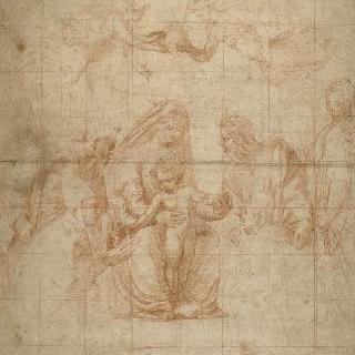 레옹 10세의 숭배를 받은 성인들사이의 아기 예수와 성모