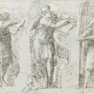 벽감 안에 서 있는 글쓰는 세 명의 복음주의자 습작