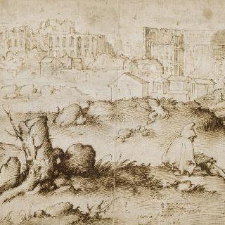 앉아서 그림 그리는 인물이 있는 로마에서 바라본 전경