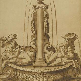 샘 습작 : 기둥, 항아리, 각 부분의 바다신과 여신