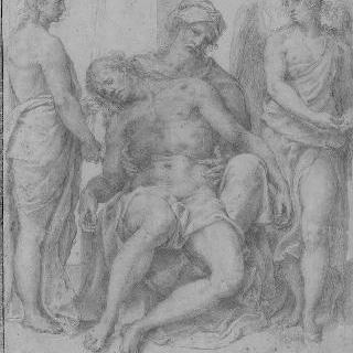 십자가 아래에서 아리마시의 요셉에 의해 부축받는 그리스도
